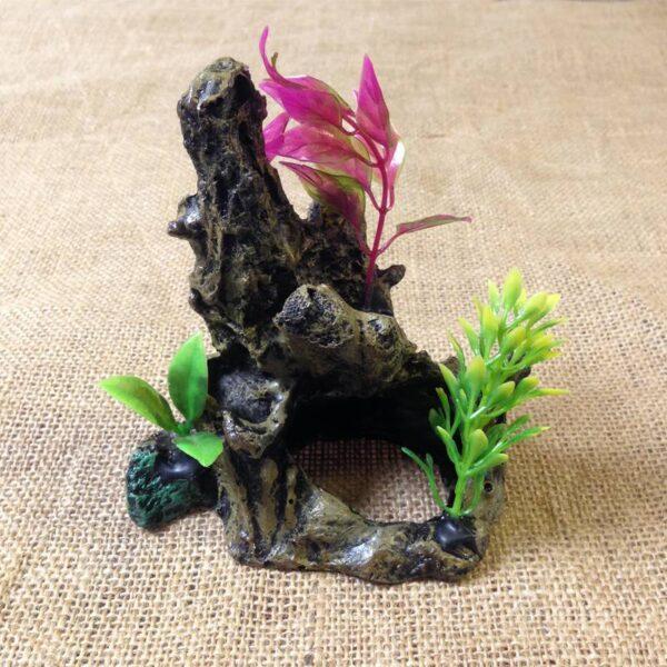 Szikla növénnyel akvárium dekor