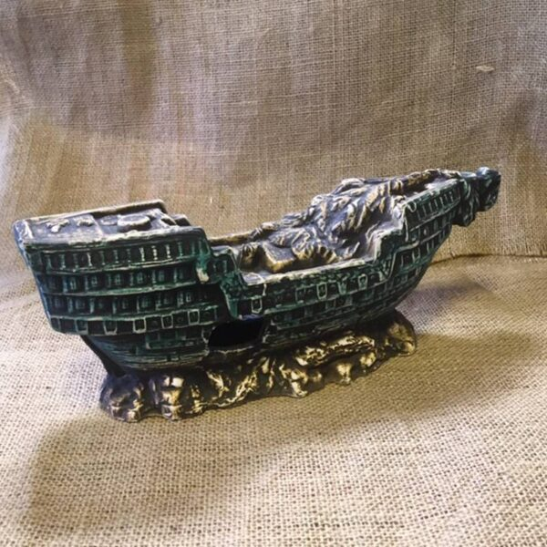 akvárium dekor kerámia hajó